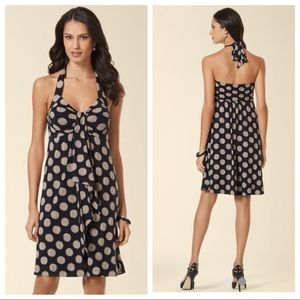 Soma halter drape detail polka dot dress black tan